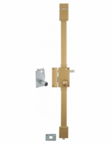 Serrure en applique VERTI bronze CR Ø 23 Transit 2 à tirage 75 x 130 gche 4 clés 00050220