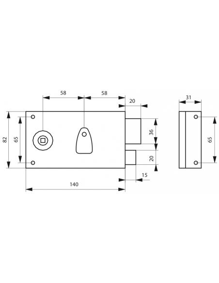 Serrure en applique 4 gorges à fouillot 140x82 mm droite 00000113