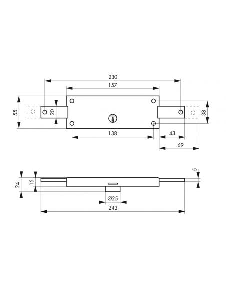 Serrure en applique DE SURETE à cylindreØ 25 mm pour rideau métallique 00901985
