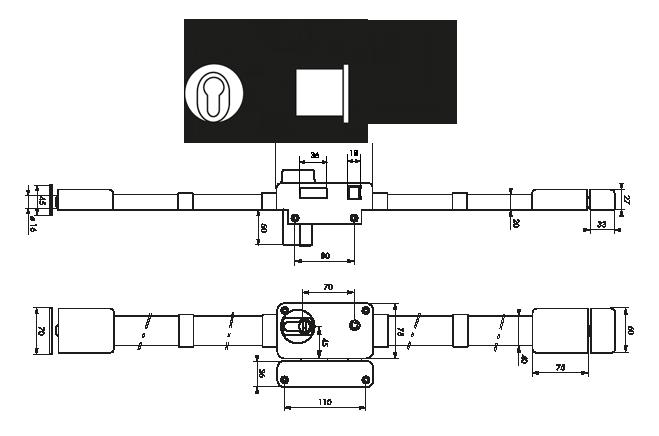 serrure appliquer 3 points beluga cp a2p 1 toile thirard. Black Bedroom Furniture Sets. Home Design Ideas